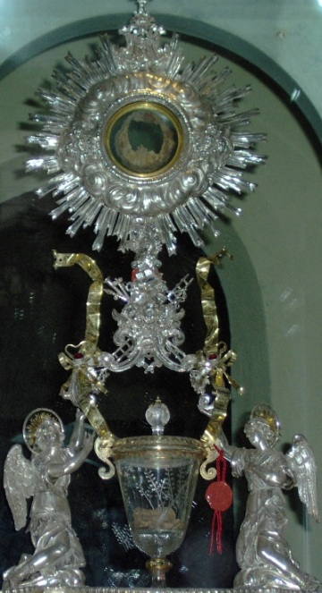 Flesh in Monstrance and Blood in Glass Chalice